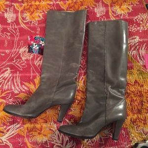 Shoes - Vintage gunmetal gray tall leather boots